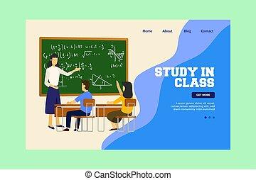 page., enfants, atterrissage, classe, teacher., étude