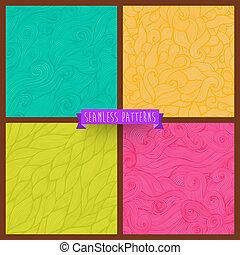 page., ensemble, résumé, remplit, quatre, clair, toile, modèle, set., pattern., seamless, modèle, arrière-plan., dessiné, combo., toile fond., papier peint, main, vagues, collection., hand-drawn, vecteur