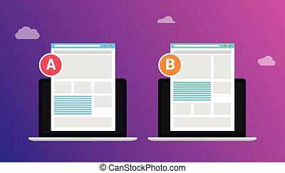 page, essai, essai, -, résultat, deux, illustration, entre, concept, site web, fente, comparaison, vecteur, business, ab, comparer, b, 2 hommes, conception
