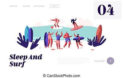 page., estate, pagina, appartamento, vacanza, mare, sabbioso, web, sito web, festa, estate, sentiero per cavalcate, ozio, surf, spiaggia, rilassante, atterraggio, onda, bandiera, cartone animato, assi, illustrazione, surfers, sport, vettore, attività