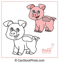page, fond, esquissé, dessin animé, blanc, couleur, cochon, mignon, coloration