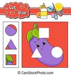 page., glue., coupure, isolé, dessin animé, jeu, education, activité, main, drawn., aubergine, kids., character., worksheet., illustration., développer, couleur, vecteur