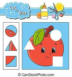 page., glue., pomme, coupure, isolé, dessin animé, jeu, education, activité, main, drawn., kids., character., worksheet., illustration., développer, couleur, vecteur