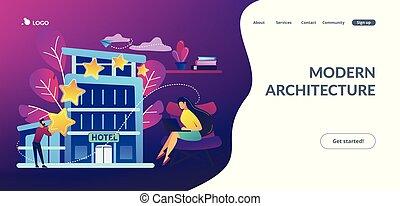 page., hôtel, concept, conception, atterrissage