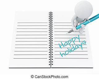 page., heureux, gens, écriture, cahier, blanc, fetes, 3d