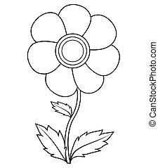 page, illustration, arrière-plan., fleur, blanc, coloration, isolé, livre, vecteur, children.