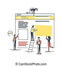 page., industry., development., klem, bouwterrein, ontwerp, web, werkende , jonge, creatief, digitale , plat, onder, tussenverdieping, vakmensen, work., illustratie, millennials, vector, team, construction., art.