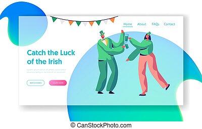 page., irlandés, reveller, beer., disfraz, tela, joven, día, santo, fiesta, feriado, alegre, sitio web, plano, pareja, bebida, ilustración, aterrizaje, alegre, caricatura, celebrar, patrick, tradicional, vector, verde, o, uso