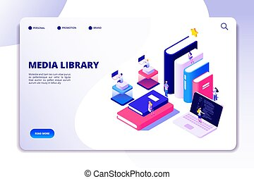 page., isometric, concept, scholieren, books., ebook, bibliotheque, academisch, vector, tussenverdieping, online onderwijs, technologie, lezende , bibliotheek