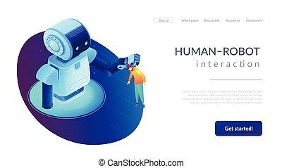 page., isometric, interação, human-robot, aterragem, 3d