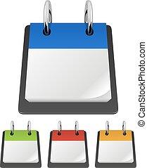 page., kalender, vektor, mall, tom