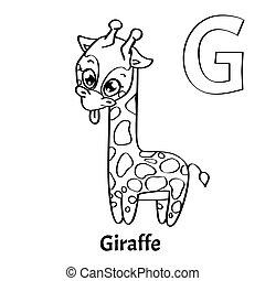 page., kleuren, alfabet, vector, giraffe, brief g