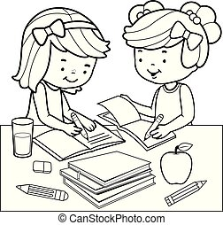 page., kleuren, homework., scholieren, vector, black , witte