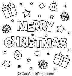 page., kleuren, illustration., vector, vrolijk, kerstmis.