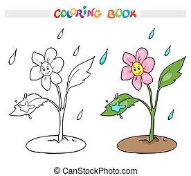 page., kleuren, rejoices, boek, bloem madeliefje, of, rain.