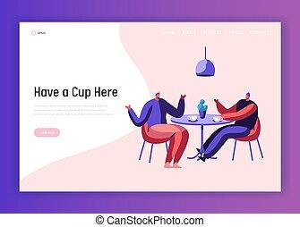 page., kolléga, tea, asztal, kávéház, template., csésze, két, gyűlés, barát, website, lakás, kávécserje, beszélgető, ábra, szünet, leszállás, közben, karikatúra, ember, vektor, párbeszéd, üzletember, pasas, hím, vagy