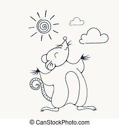 page., kolorowanie, ilustracja, radosny, szczur, sun., pod, interpretacja