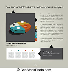 Page layout. - Modern flat page layout with text and graph....