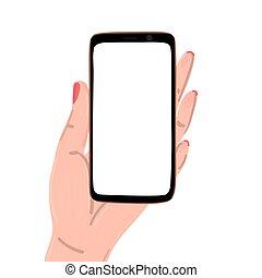 page, main, aviateur, vide, smartphone, tenue, screen., femme, conception, affiche, bannière, gabarit, atterrissage, brochure
