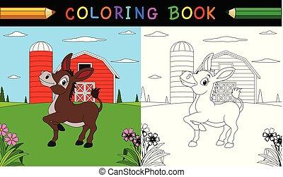 page., mignon, âne, coloration, ferme, livre, ou
