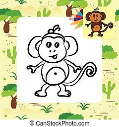 page, mignon, coloration, dessin animé, monkey.