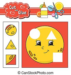 page., mignon, coupure, worksheet., développer, isolé, illustration, dessin animé, jeu, vecteur, glue., activité, children., education, style.
