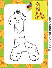page., mignon, girafe, coloration, toy.
