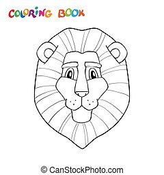 page., mignon, tête, stockage, coloration, lion, vecteur, contour, outline., drowing, illustration