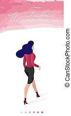 page., moda, pegatina, colección, mujer, aterrizaje