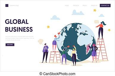 page., mondial, concept, globe global, toile, caractère, site web, plat, business, ladder., illustration, atterrissage, mondiale, dessin animé, reussite, travail, contrat, ou, vecteur, logistique, équipe, homme affaires, constitué, page