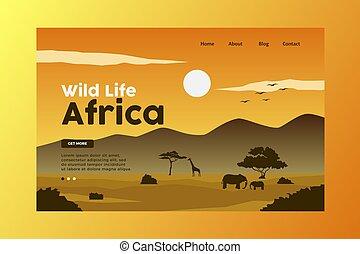 page., naturaleza, aterrizaje, áfrica, ilustración, vida ...