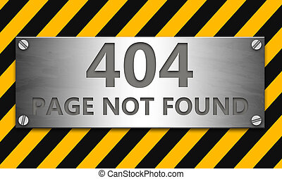 Page not found 404 banner with yellow caution strip background