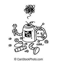 Page Not Found Error 404. Broken Robot Hand Drawn Vector...