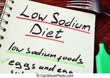 Low sodium diet. - Page of a note with title Low sodium diet...