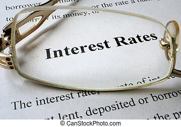 interest rates - Page of book with words interest rates and...