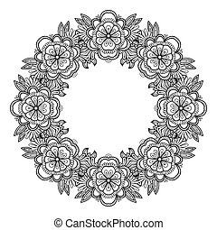 Page of coloring book with flowers