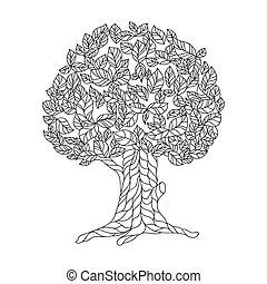 Page of coloring book with lace tree