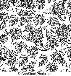 Page of coloring book with sunflowers