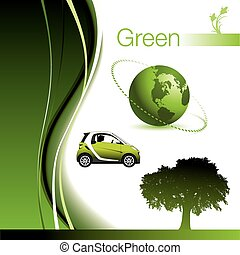 Page of Green Elements with Environmental Theme