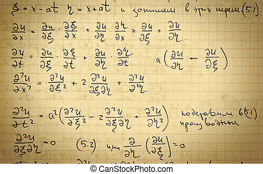 Page of old textured vintage paper with the calculation of ...