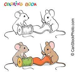 page., ou, coloration, thread., aiguille couture, une, bobine, autre, tenue, souris, livre