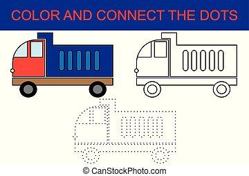 page., pédagogique, coloration, décharge, jeu, papier, point, children., truck., dessin animé, préscolaire