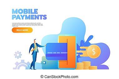 page., plat, concept, facile, gens, illustration, paiement, site web, vecteur, atterrissage, caractères, ligne, bannière, template., carte, paiements