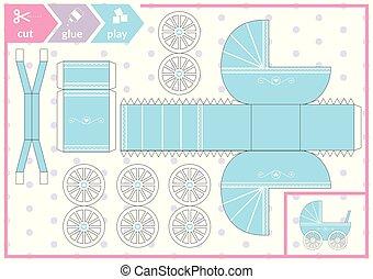 page., pram., art, illustration., carriage., vecteur, papier, jeu, coupure, activité, bébé, colle, enfants, 3d