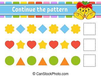 page., preschool., énigme, continuer, puzzle, dessin animé, ...