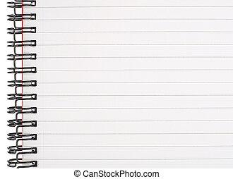 page revêtue, cahier