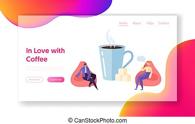 page., rusten, web, cup., karakter, website, plat, koffie, zakelijk, groot, drank, illustratie, breken, etentje, tussenverdieping, spotprent, man, morgen, vector, tijd, professioneel, collectief, of, praatje