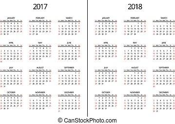 page., semplice, mensile, vettore, 2018, anno, 2017, calendario