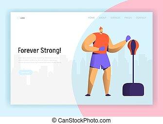 page., site web, treinamento, vetorial, estilo vida, bixing, poder, apartamento, concept., personagem, aterragem, luta, gym., pugilista, desenho, ilustração, caricatura, malhação, exercício, homem
