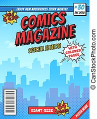 page., stad, gebouwen, superhero, komieken, ouderwetse , dekking, opmaak, deksels, stad, magazine, vector, boekjes , mal, komisch boek, lege
